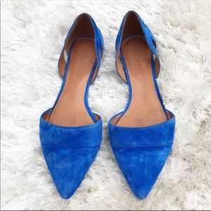 MADEWELL D'Orsay Flat in Blue Suede